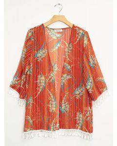 Tassel Trim Kimono - Rust Floral
