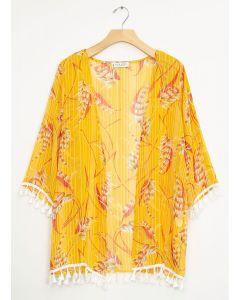 Tassel Trim Kimono - Mustard Floral