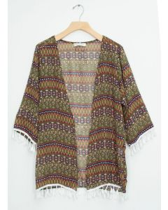 Elbow Sleeve Cover Up Shawl - Olive Aztec
