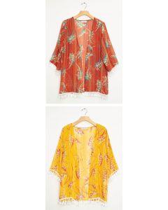 Tassel Trim Kimono - Assorted