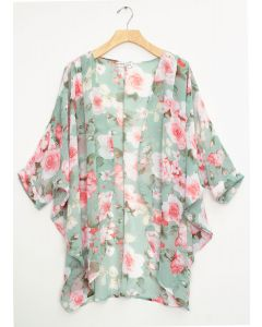 Cuff Sleeve Floral Kimono - Mint