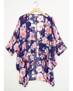 Cuff Sleeve Floral Kimono - Royal Blue