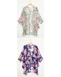 Cuff Sleeve Floral Kimono - Assorted