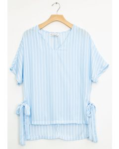Side Tie Stripe Blouse - Sky Blue