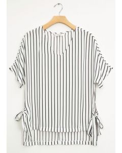 Side Tie Stripe Blouse - White