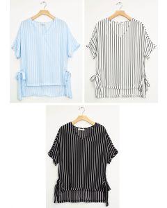 Side Tie Stripe Blouse - Assorted