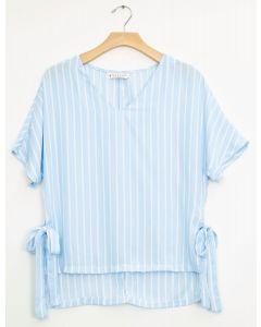 Plus Side Tie Stripe Blouse - Sky Blue