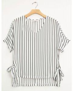 Plus Side Tie Stripe Blouse - White