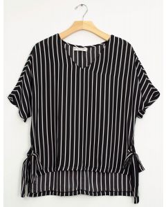 Plus Side Tie Stripe Blouse - Black