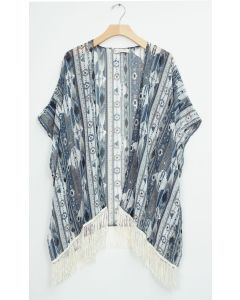 Fringe Cover Up Shawl - Black Aztec