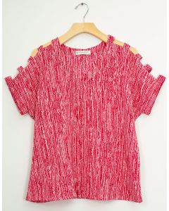 Lattice Sleeve Pebble Knit Top - Red