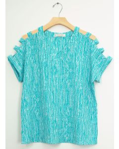 Lattice Sleeve Pebble Knit Top - Turquoise