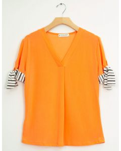 Tie Sleeve V Neck Pleat Top - Salmon
