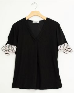 Tie Sleeve V Neck Pleat Top - Black