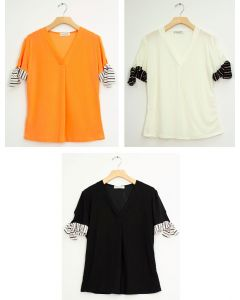 Tie Sleeve V Neck Pleat Top - Assorted