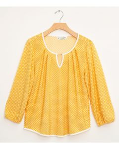 3/4 Slub Knit Jewel Contrast Pipe Top - Mustard