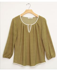 3/4 Slub Knit Jewel Contrast Pipe Top - Olive