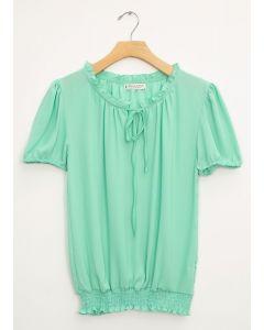 Wool Dobby Cap Sleeve Smock Hem Blouse - Green