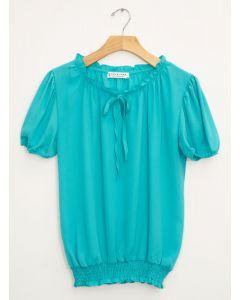 Wool Dobby Cap Sleeve Smock Hem Blouse - Blue