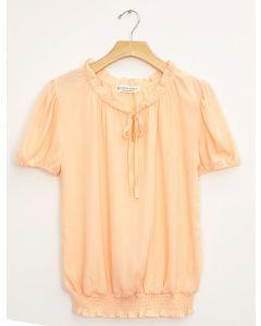 Wool Dobby Cap Sleeve Smock Hem Blouse - Peach