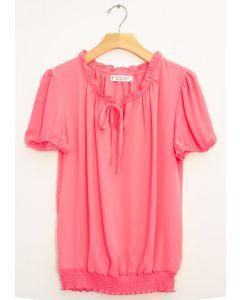 Wool Dobby Cap Sleeve Smock Hem Blouse - Pink