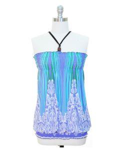 Smocked Halter Top - Blue Stripes-SPECIAL PRICE!