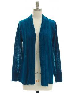 Open Shawl Front Cardigan - Blue