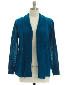 Plus Open Shawl Front Cardigan - Blue