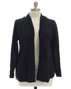 Plus Open Shawl Front Cardigan - Black