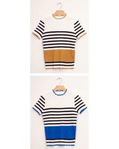 Stripe Scallop Crew Neck Sweater - Assorted