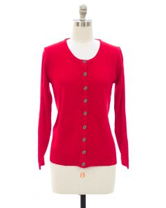 Crew Neck Cardigan - Red