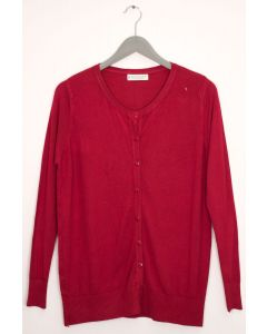Basic Crew Neck Cardigan - Wine