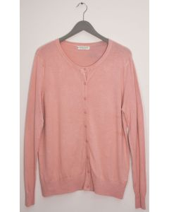 Basic Crew Neck Cardigan - Pale Pink