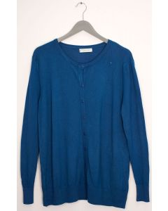 Basic Crew Neck Cardigan - Teal