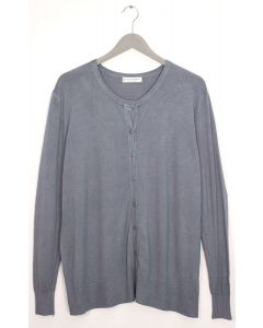 Basic Crew Neck Cardigan - Grey