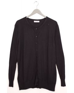 Basic Crew Neck Cardigan - Black