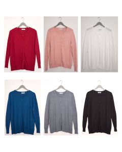 Basic Crew Neck Cardigan - Assorted