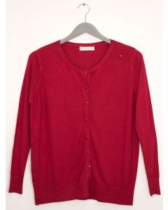 Plus Crew Neck Cardigan - Wine