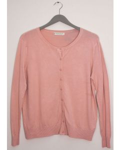 Plus Crew Neck Cardigan - Pale Pink