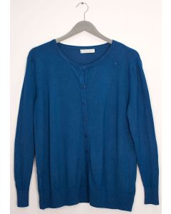 Plus Crew Neck Cardigan - Blue