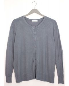 Plus Crew Neck Cardigan - Grey