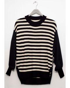 Chiffon Sleeve Stripe Sweater - Black White