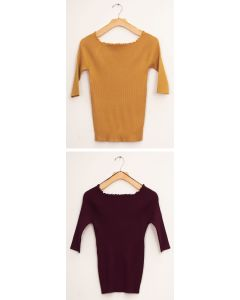 Scallop Wide Neck Sweater - Assorted