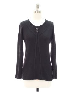 Oversized Pullover with Buttons - Black