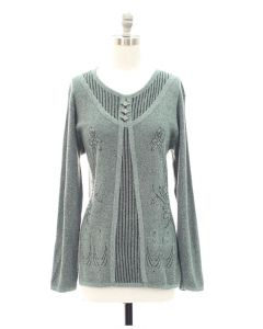 Oversized Pullover with Buttons - Green