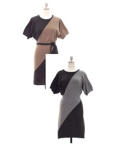 Fine Gauge Biased Colorblock Sweater Dress - Asst
