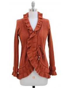 Ruffle Cardigan Sweater - Rust