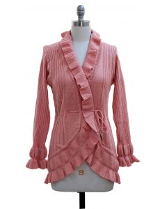Ruffle Cardigan Sweater - Pink