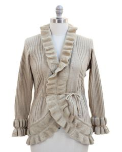 Plus Size Solid Ruffle Cardigan - Cream