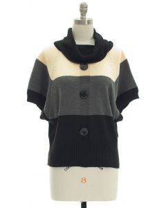 Button Cowl Neck Sweater - Ivory Charcoal